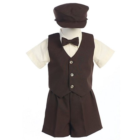 Boys Brown Vest Shorts Easter Ring Bearer Formal Wear Suit 12M-4T - Ring Bearer Outfits