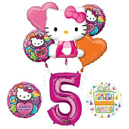Hello Kitty 5th Birthday Party Supplies and Balloon Bouquet Decorations