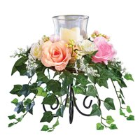 Pastel Colored Roses with Cascading Ivy Candle Holder Centerpiece, Beautiful Tabletop or Mantle Spring Accent
