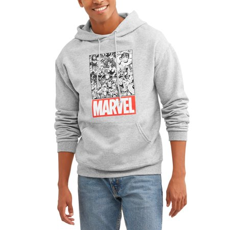 Marvel Men's Comic Book Sketched Group Shot Zip-Up Graphic Hoodie with Pockets