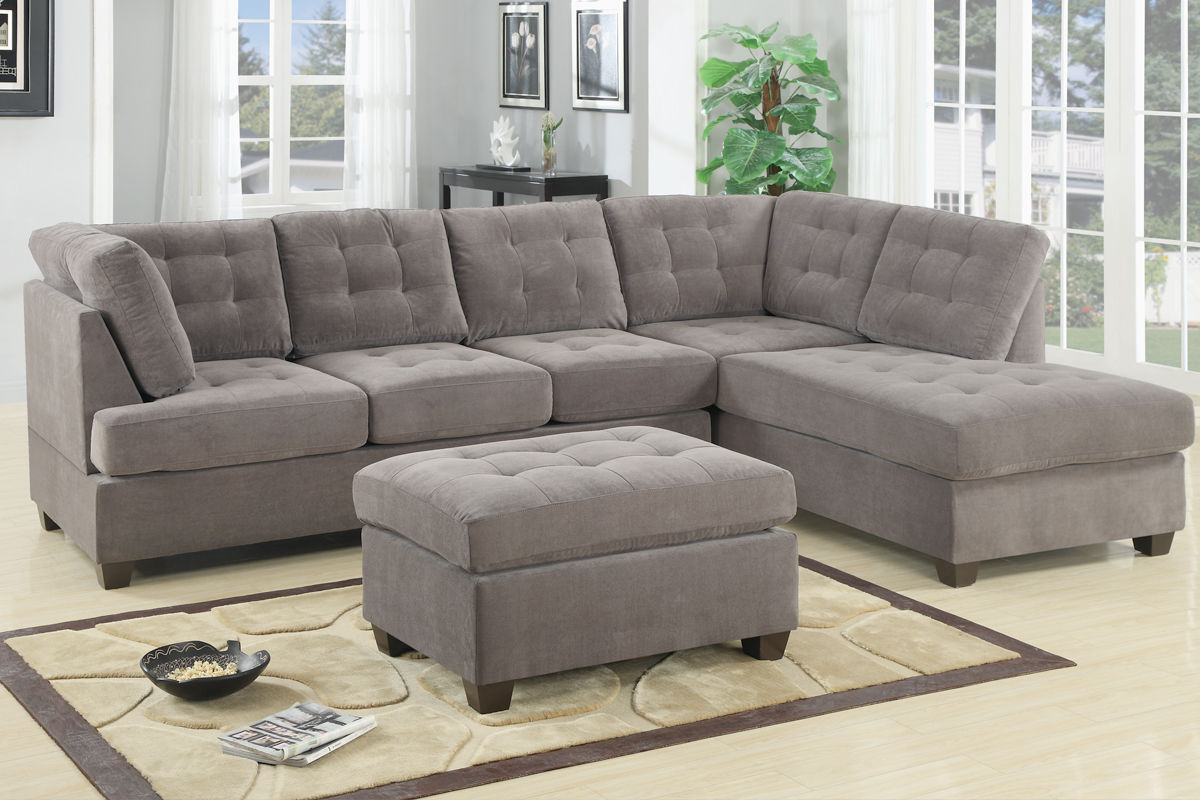 Exceptionnel 2pcs Sectional Sofa Smooth Waffle Suede Tufted Sofa Reversible Chaise  Charcoal Comfort Couch Living Room Furniture
