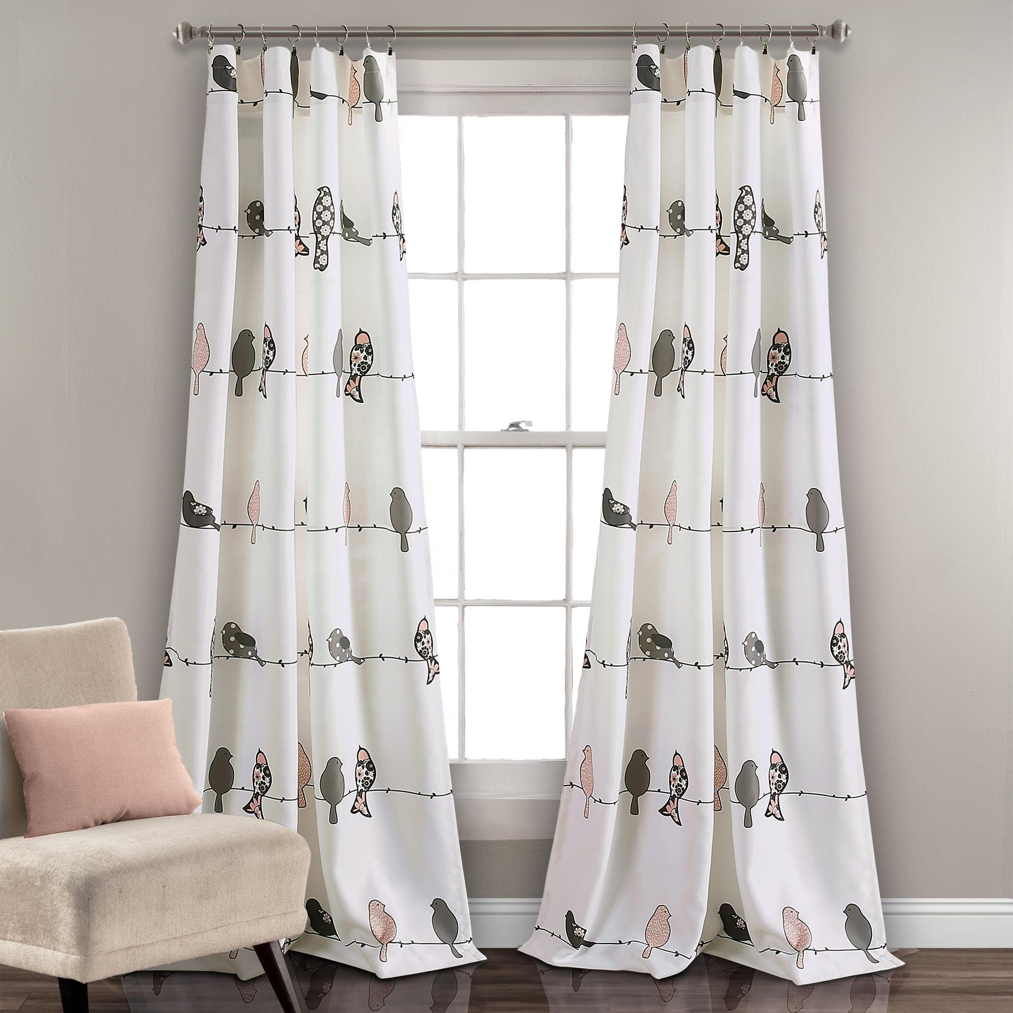 Rowley Birds Room Darkening Window Curtain Panels Blush/Gray Set 52X84+2