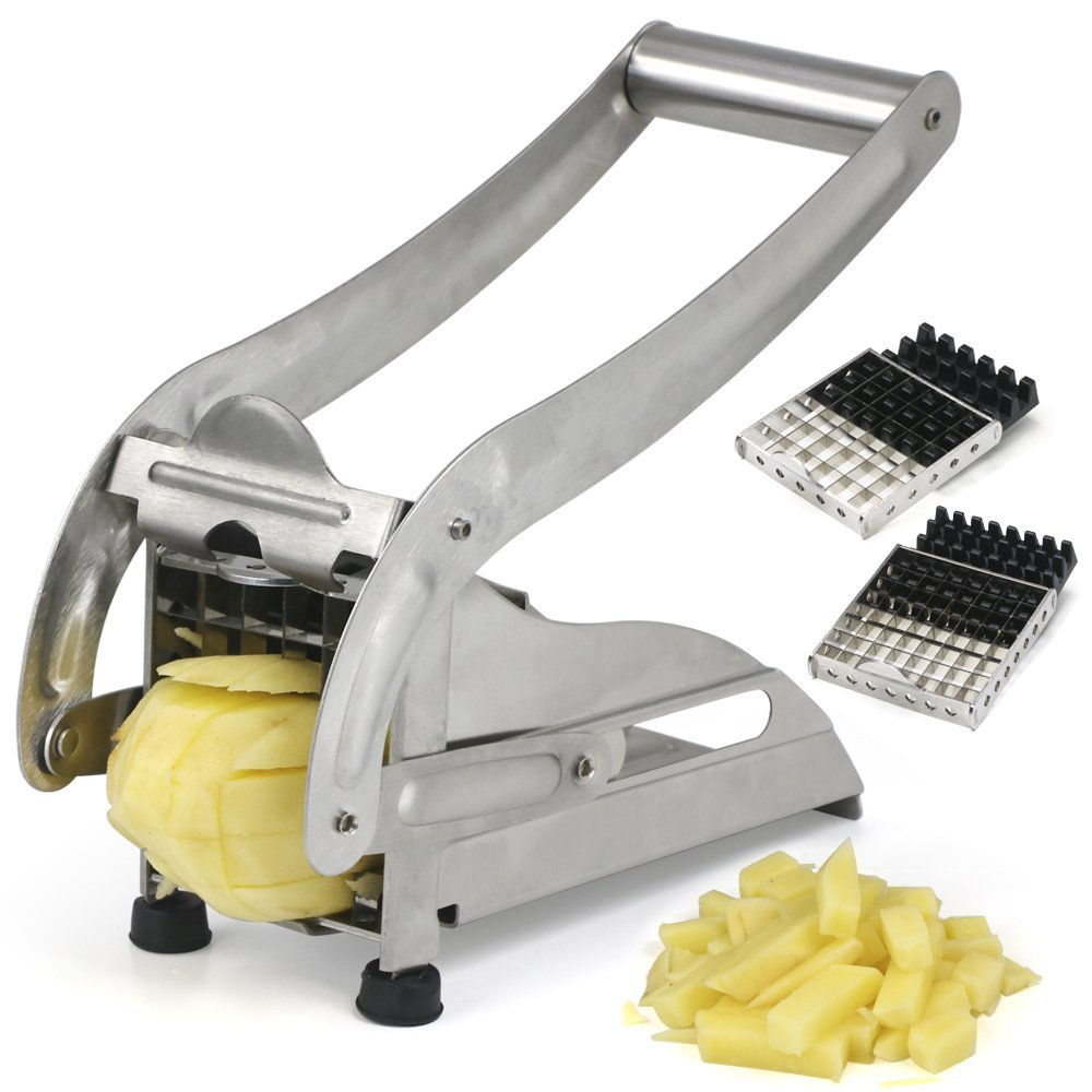 UBO Stainless Steel French Fry Cutter Potato Vegetable Slicer Chopper Dicer 2 Blades, USA by