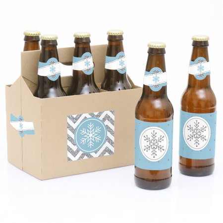 Winter Wonderland - Snowflake Holiday Party Decorations for Women and Men - 6 Beer Bottle Label Stickers and 1 Carrier - Winter Wonderland Decorations For Office
