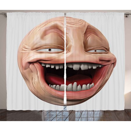 Humor Curtains 2 Panels Set, Poker Face Guy Meme Laughing Mock Person Smug Stupid Odd Post Forum Graphic, Window Drapes for Living Room Bedroom, 108W X 108L Inches, Peach and (Post Bedroom Series)