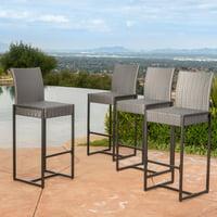Conrad Outdoor Grey Wicker Barstools