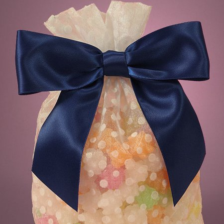 Navy Blue Pre-Tied 4.5 x 1.5 inches Satin Soft Ribbon Bow with Wire Tie for Gift Cello Bags, 12 pack