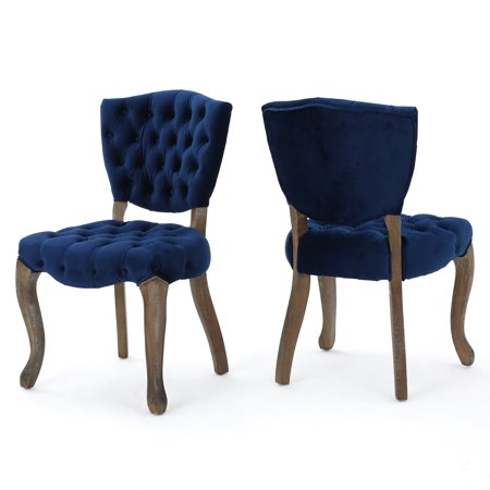 Duke Tufted New Velvet Dining Chairs, Set of 2, Navy Blue