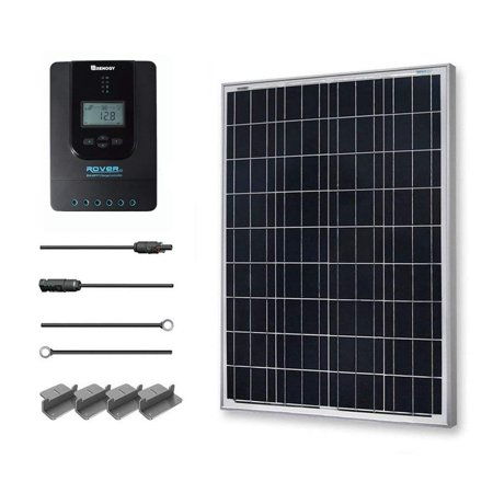 Renogy 100W 12V Solar Panel Polycrystalline Off Grid Starter Kit with 20A Rover MPPT Charger Controller