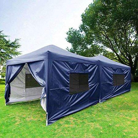 KING BIRD Silvox 10x20 Ez Pop up Canopy Tent Instant Set up Party Tent Gazebo with 6 Sidewalls Mesh Windows Waterproof (Navy Blue)