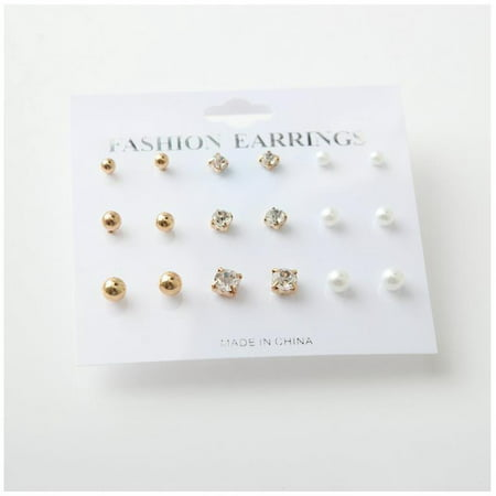 9 Pairs Stud Earring Set Diamond Pearl Metal Ball Simple Casual