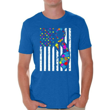 - Awkward Styles USA Flag Autism Shirts for Men Autism Awareness Ribbon T-shirt American Flag Colorful Men's Tee Shirt Tops Support Autism Awareness Tshirt for Men Autistic Spectrum Awareness Shirts