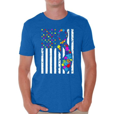Awkward Styles USA Flag Autism Shirts for Men Autism Awareness Ribbon T-shirt American Flag Colorful Men's Tee Shirt Tops Support Autism Awareness Tshirt for Men Autistic Spectrum Awareness