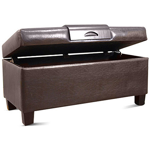 Leatherette Storage Bench with Wood Tray, Multiple Colors
