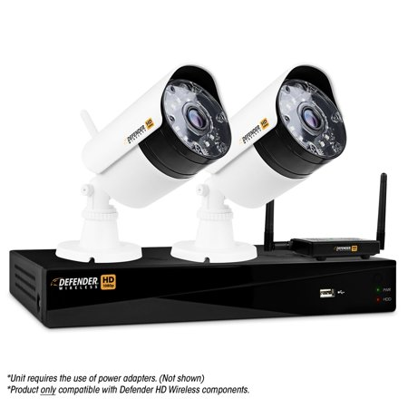 Defender WHD1T4B2 4-Channel, 2-Camera Indoor/Outdoor Wireless 1080p 1TB DVR Security System Black/white