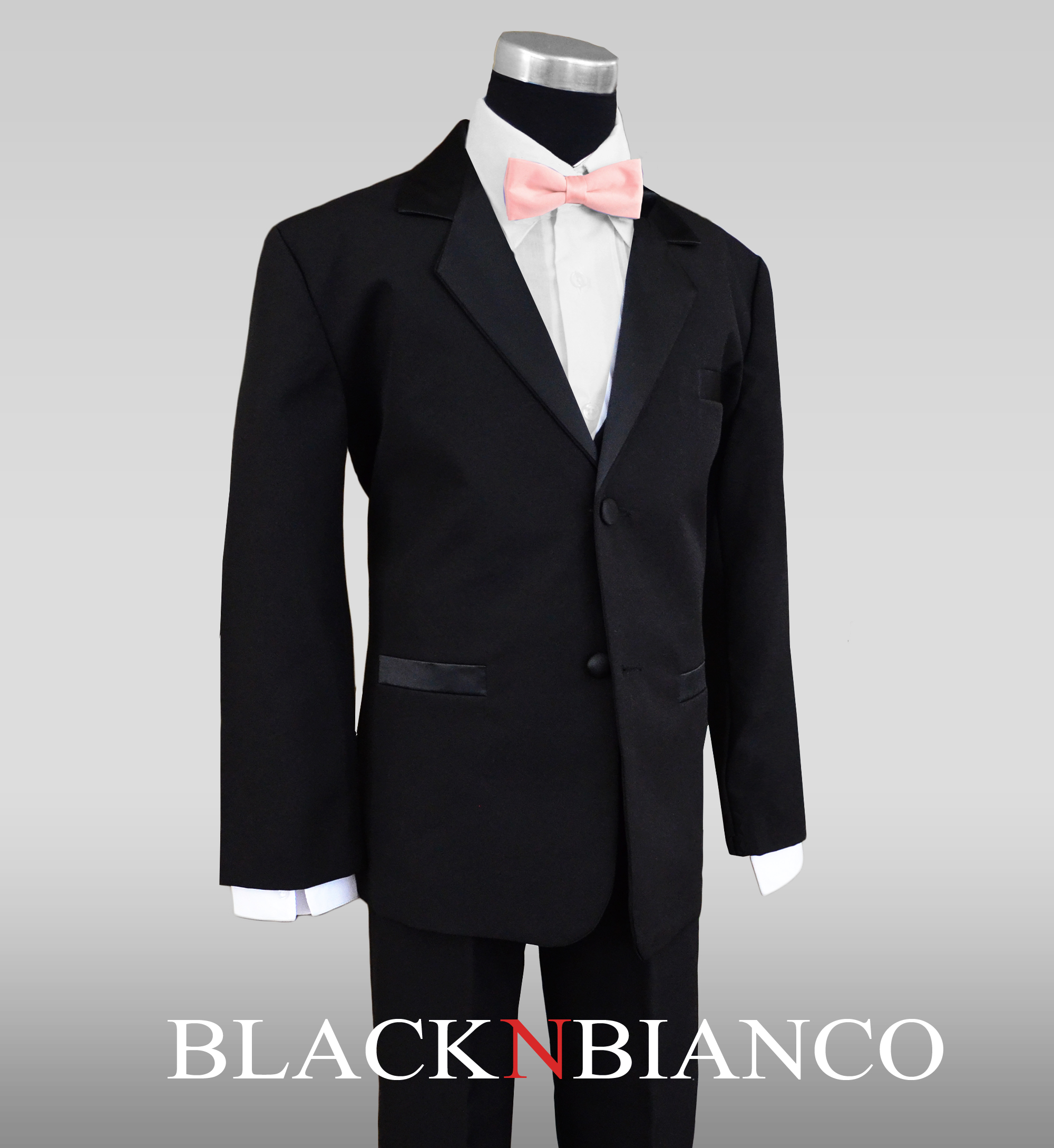 Boys Tuxedo in Black with a Light Pink and Black Bow Tie