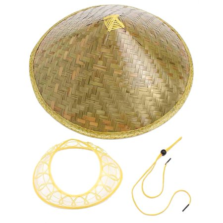 Chinese Sun Hat Brimmed Bamboo Straw Hat Tourism Farmer Unisex Fishing Hat - Chinese Bamboo Hat