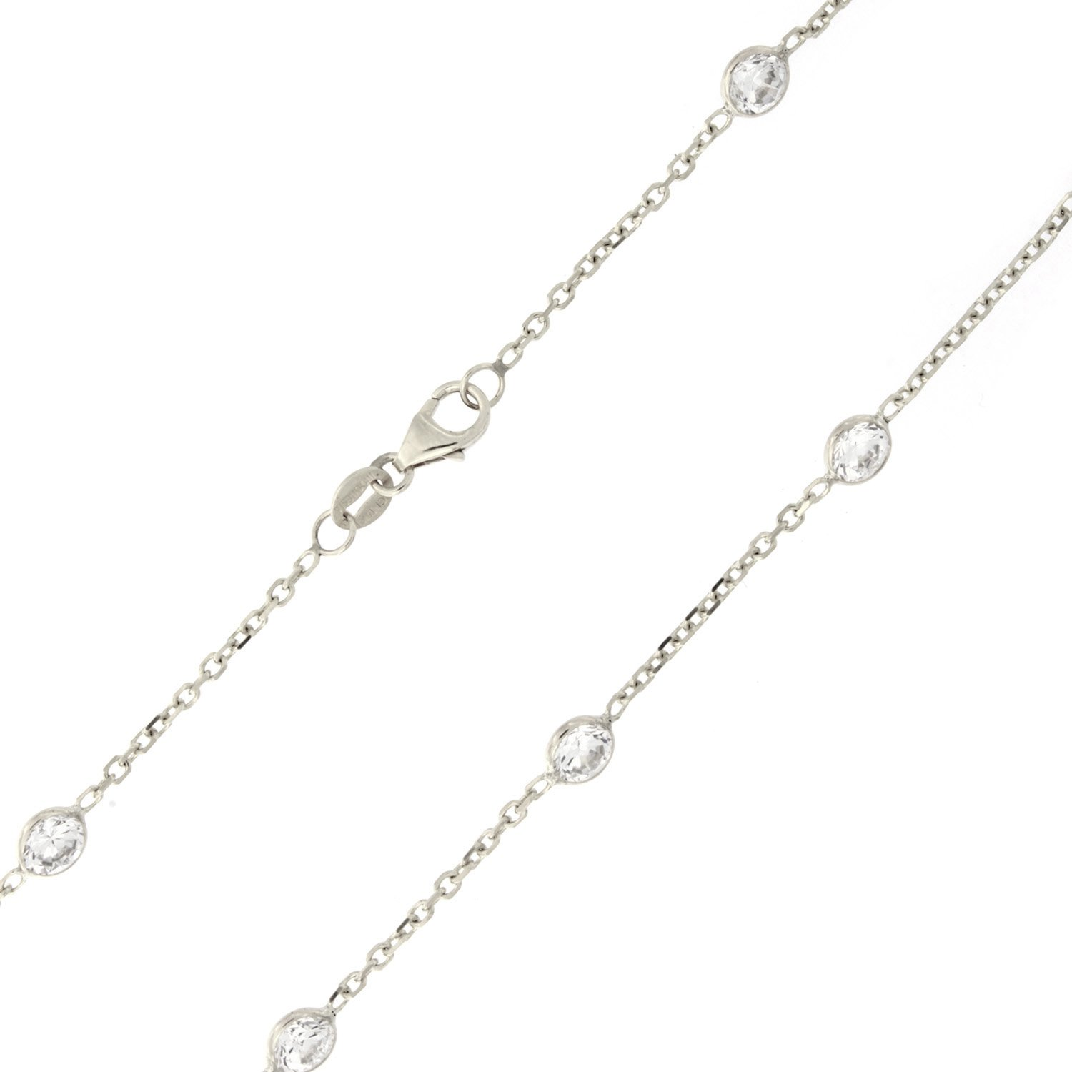 """Beauniq 14k Yellow or White Gold """"CZ By the Yard"""" Anklet ..."""