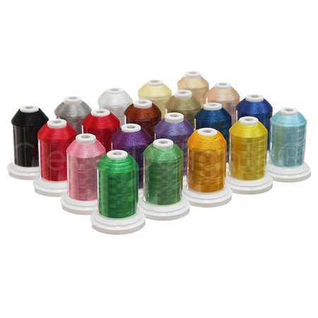 1100yd Spool (20 Color Embroidery Machine Thread - Jumbo 1100Yd Spools - 40wt Polyester Thread )