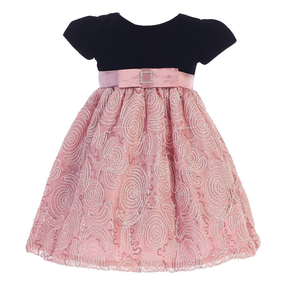 LITO Baby Girls Black Dusty Rose Velvet Corded Tulle Occa...