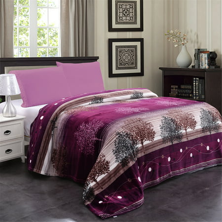 Super Soft Large Dark Purple Tree Printed Bed Fleece Throw Blanket 79 X83