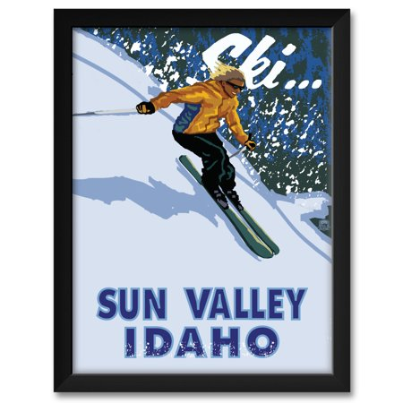 Sun Valley Idaho Downhill Modern Girl Skier Framed Art Print by Paul A. Lanquist. Print Size: 18