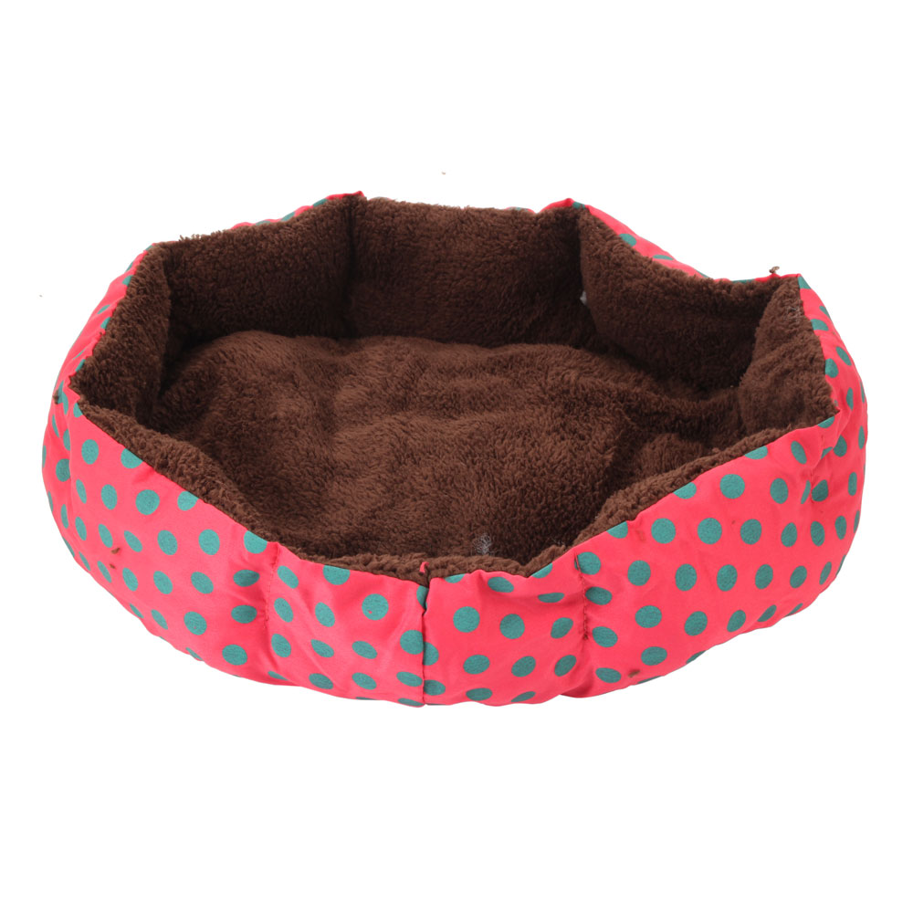 Zimtown Nice-looking Dot Cat Soft Pattern Octagonal Flannelette & Cotton Pet Bed Size S L