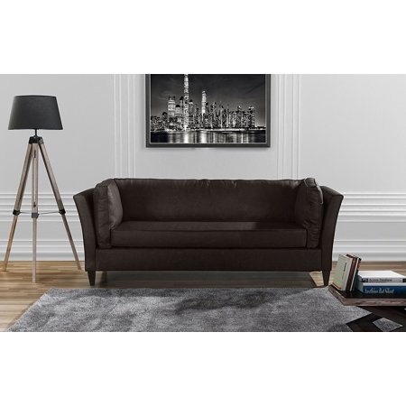 Modern Club Style Bonded Leather Living Room Sofa (Brown) Series Brown Leather Sofa