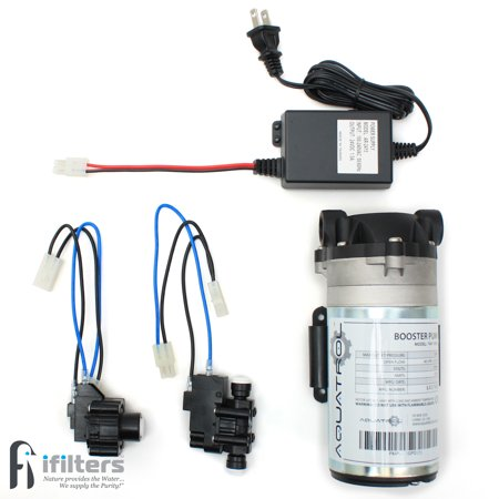 Booster Pump Kit for Reverse Osmosis RO DI Systems Up To 100 GPD, Complete Kit W/All Components & Hoses, 1/4