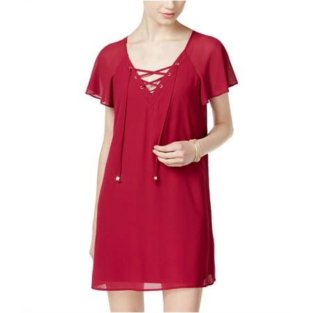 City Studio Womens Flutter Sleeve Shift Dress fuschia XL - Juniors Fuschia Juniors Dress