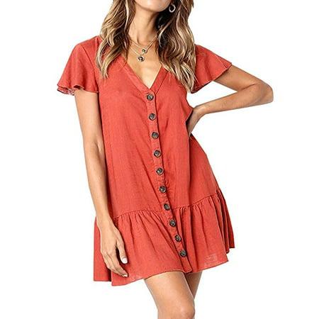 061d61630ce4 FRESHLOOK - Womens V Neck Button Down Shirt Dresses Short Sleeve Ruffles  Midi Skater Dress with Pockets - Walmart.com