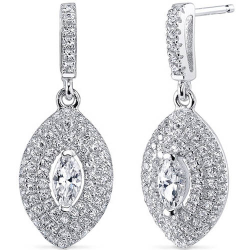 Oravo 2.57 Carat T.G.W. Marquise-Cut Cubic Zirconia Rhodium over Sterling Silver Drop Earrings