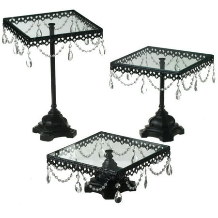 Set of 3 Fancy Jeweled Black Square Cake Plates / Stands (Fancy Cake Stand)
