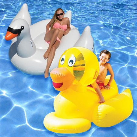 Swimline Giant Swan and Ducky Pool Floats - Set of 2