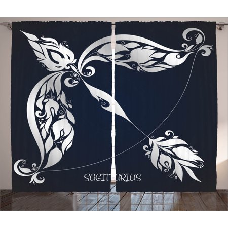 Zodiac Decor Curtains 2 Panels Set  Astrology Sign Sagittarius With Flower Images Planetary Impacts On Nature  Window Drapes For Living Room Bedroom  108W X 90L Inches  Blue Silver  By Ambesonne