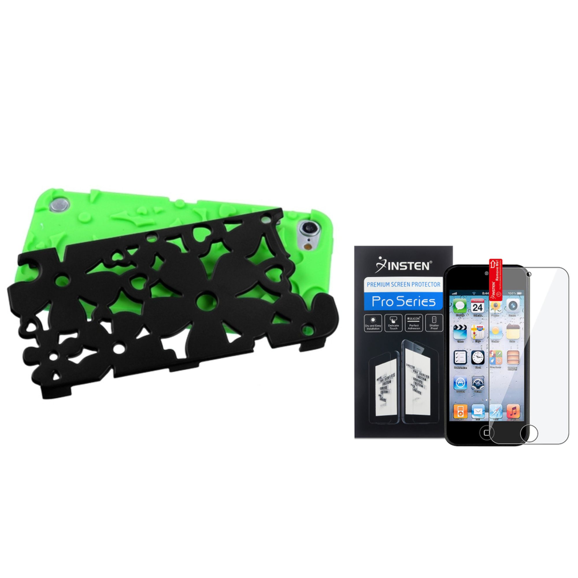 Insten Green Black Flower Dual Layer Hard Soft Case+LCD Film For iPod Touch 6G 6 6th 5G 5 5th Gen