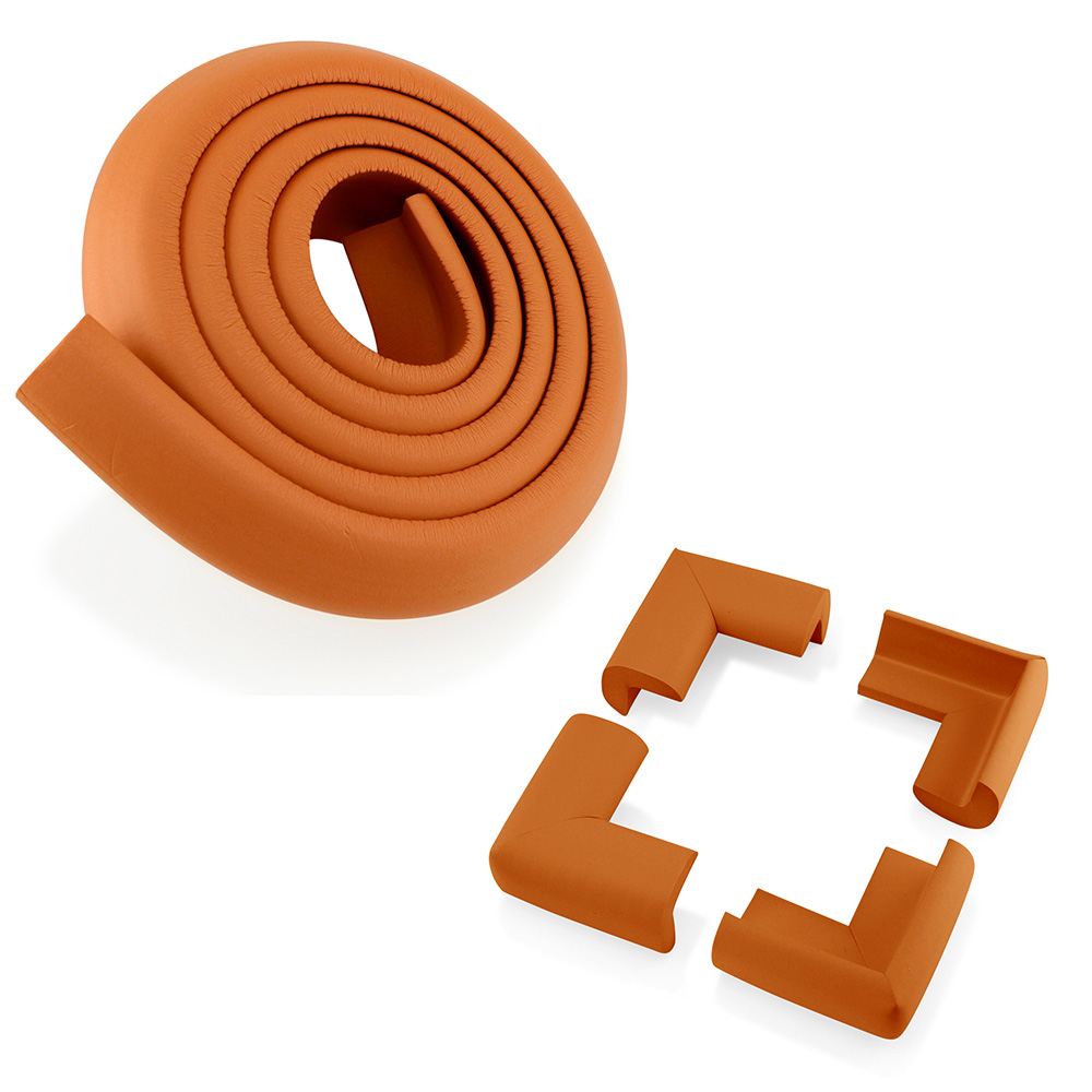 4Pcs Child Baby Proofing Kids Safety Kit - Corner Edge Protectors + Table Soft Cover Protector Cushion Guard - Light Wood