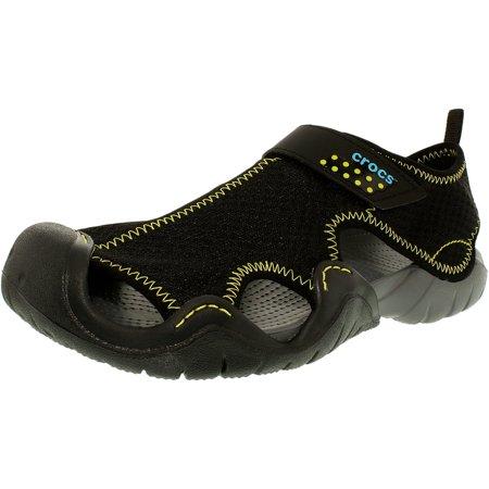 Crocs Men's Swiftwater Sandal Black/Charcoal Ankle-High Rubber - 10M