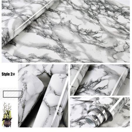 3m Marble Pattern Water-resistant Moistureproof Removable Self Adhesive Wallpaper Peel & Stick PVC Wall Stickers for Living Room Bathroom Kitchen Countertop 2#