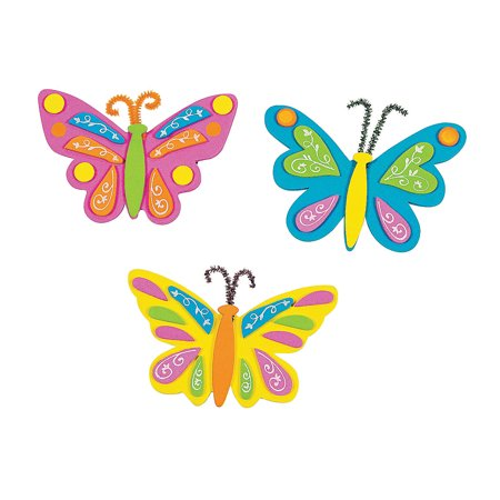 Fun Art And Crafts For Halloween (Fun Express - Butterfly Foam Magnets Craft Kit for Spring - Craft Kits - Stationary Craft Kits - Magnet - Spring - 12)
