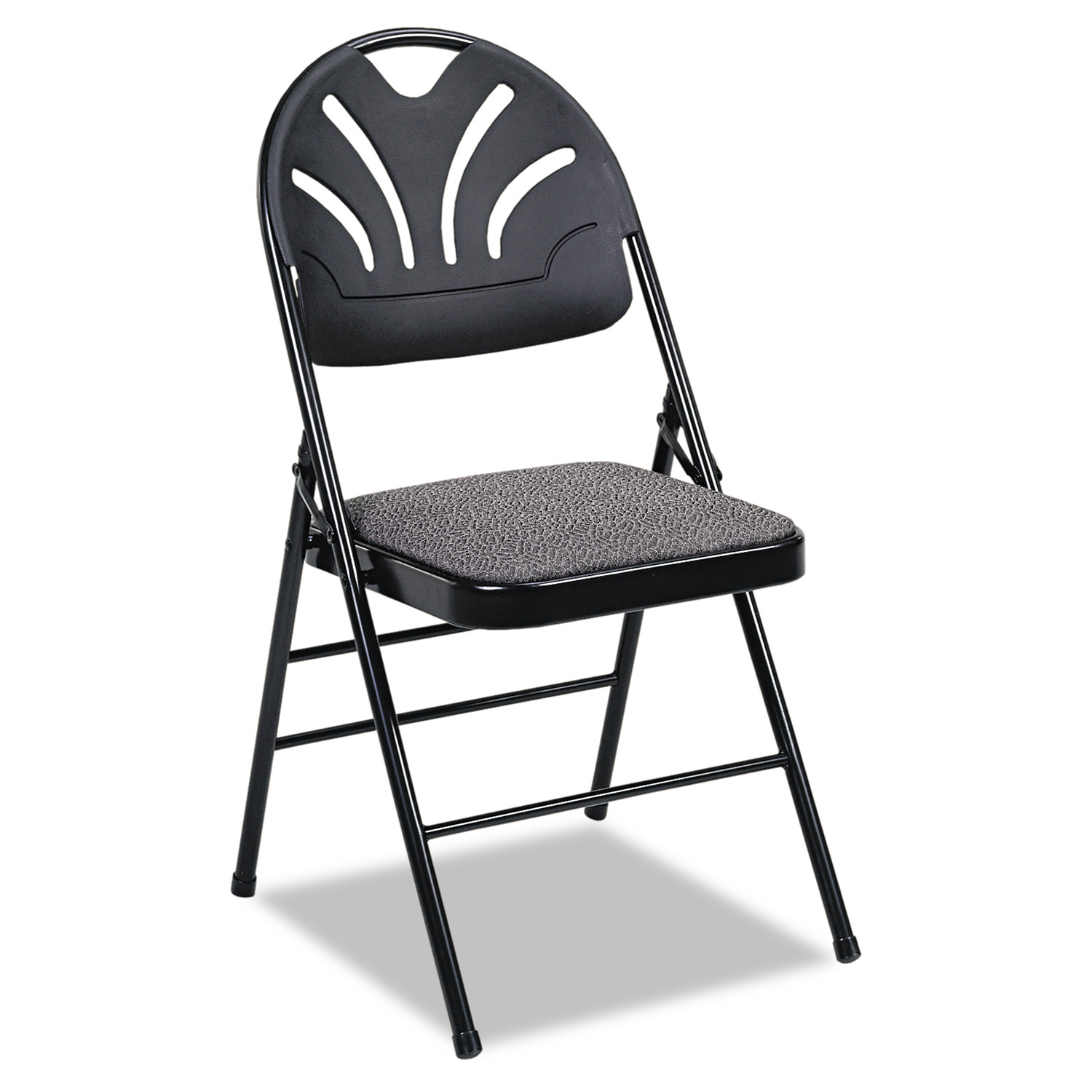 Cosco Fabric Padded Seat/Molded Fan Back Folding Chair, Kinnear Black, 4 Per Carton