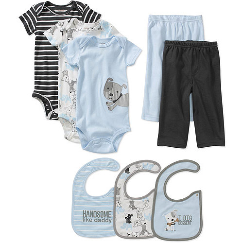 Child of Mine Carters Newborn Boys' 8pc Creeper, Pant and Bib Set