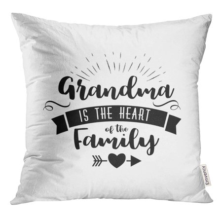 STOAG Best Grandma Handwritten in Black Brush Ink Lettering Text Typographic Badges Calligraphy Style Throw Pillowcase Cushion Case Cover 16x16 (Best Heated Brush Uk)