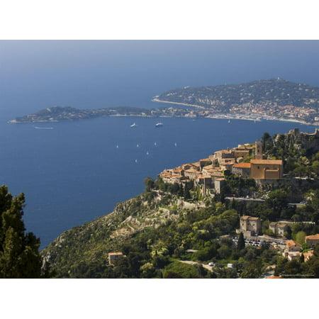 Eze Village and Cap Ferrat, Alpes Maritimes, Provence, Cote d'Azur, French Riviera, France Print Wall Art By Sergio