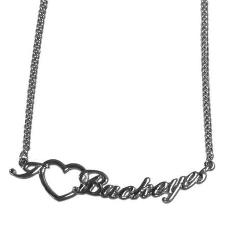 NCAA Ohio State Buckeyes Heart Script Necklace