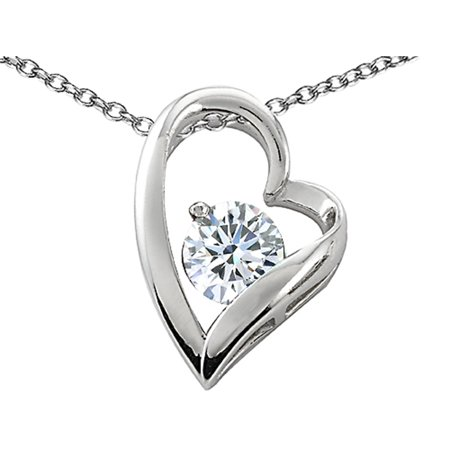 Star K 7mm Round White Topaz Floating Heart Pendant Necklace in Sterling Silver Floating Heart Necklace