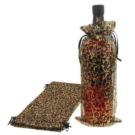 Holiday Swirl Organza Wine Bottle Bags, 13-Inch, 12-Piece, Black/Gold (Swirl Bottle)