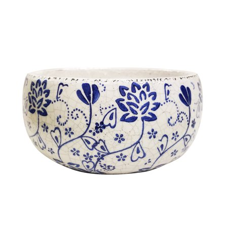 Newly designed old world blue and white cermaic flower pattern garden pot 2 sizes available, Large size