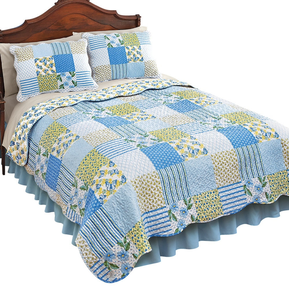 Butterflies Stripe Floral Lattice Patchwork Lightweight Quilt, Full Queen, Multi by Collections Etc