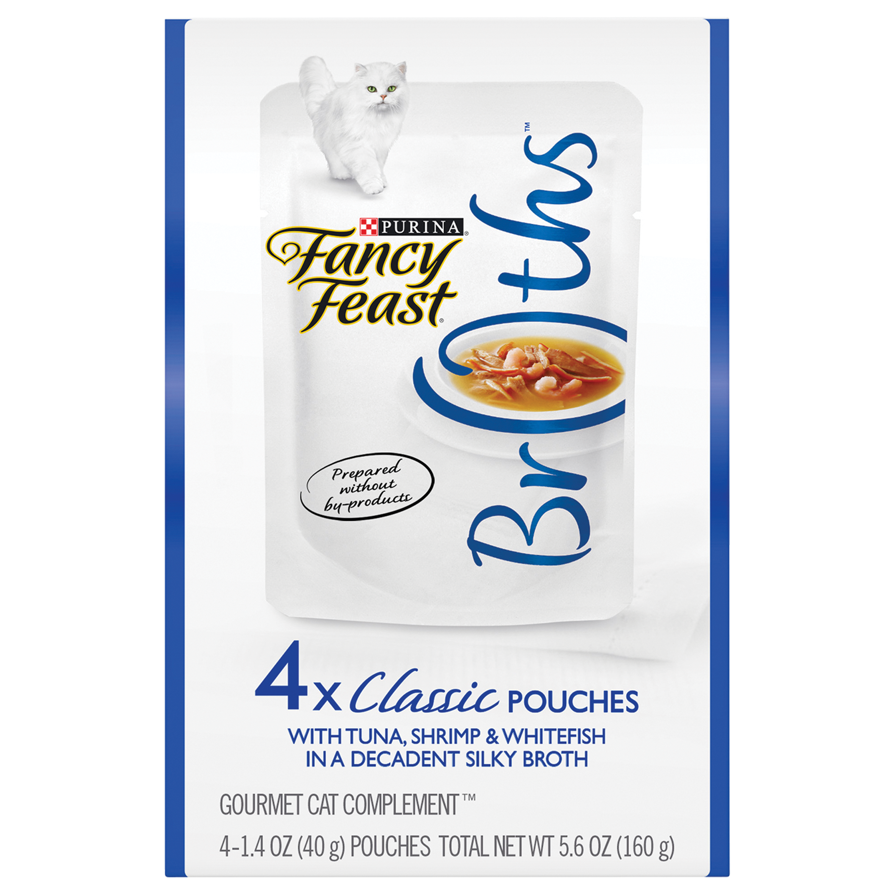 Purina Fancy Feast Broths Classic With Tuna Shrimp & Whitefish in a Decadent Silky Broth Adult Wet Cat Food Complement - (4) 1.4 oz. Boxes